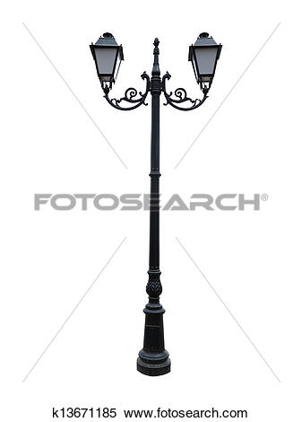 Stock Image of Street lamppost with two lamps isolated on white.