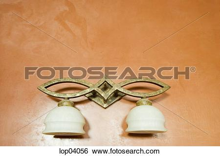 Stock Images of Brass Light Fixture with Two Lamps lop04056.