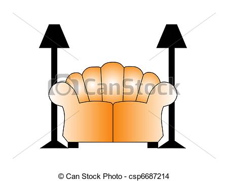 Drawing of Sofa with two lamps on each side. Illustration.