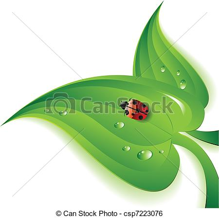 Clip Art Vector of Ladybug on Leaf.