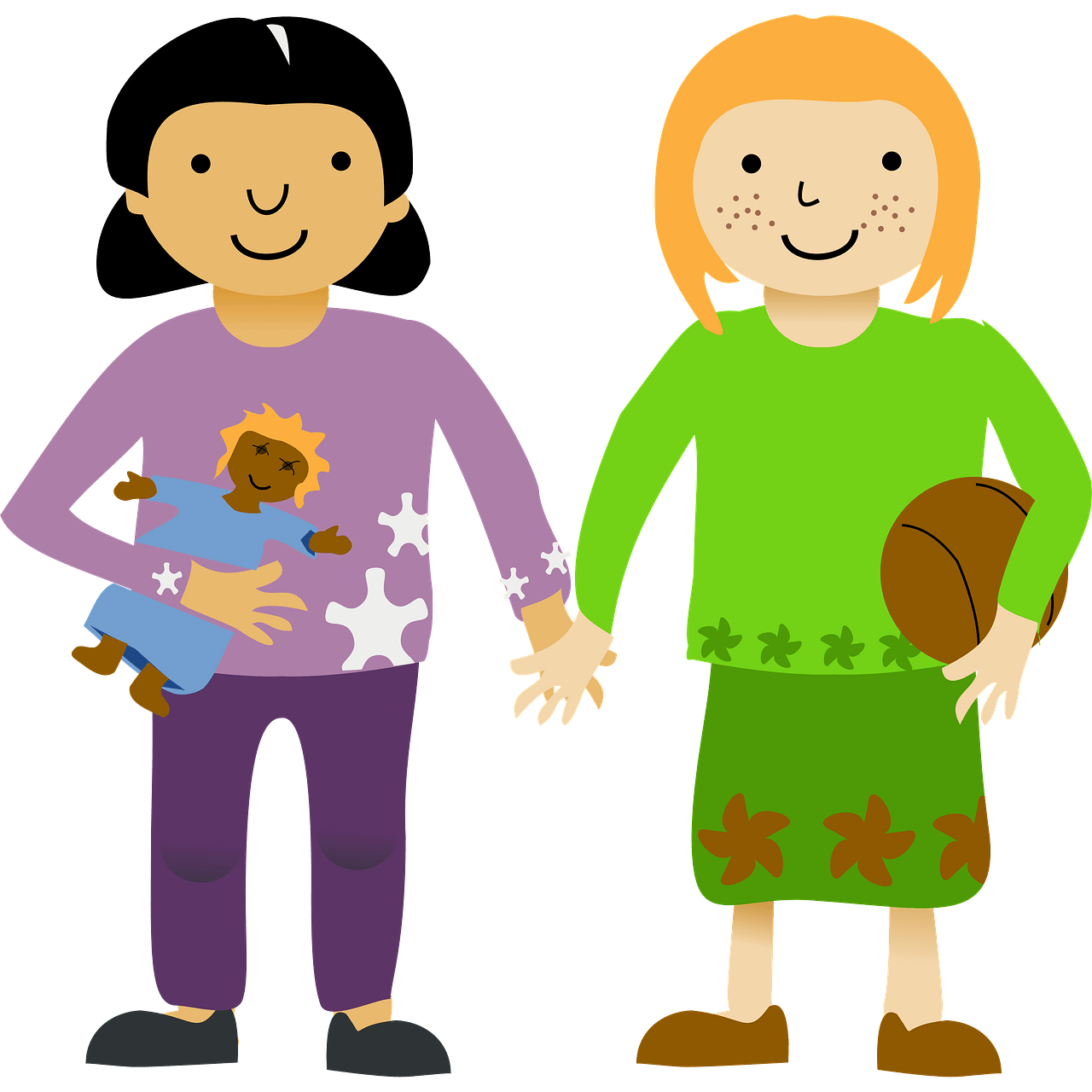 Two little girls clipart. Free download..