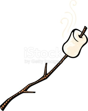cartoon illustration of a roasted marshmallow on a stick.