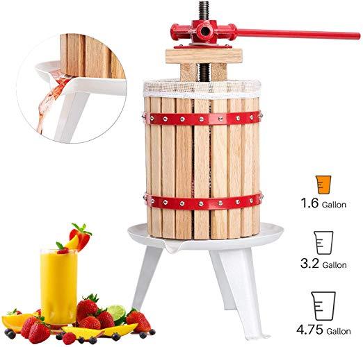 Fruit and Wine Press 1.6 Gallon Cider Apple Grape Crusher Juice Maker Tool  Wood.