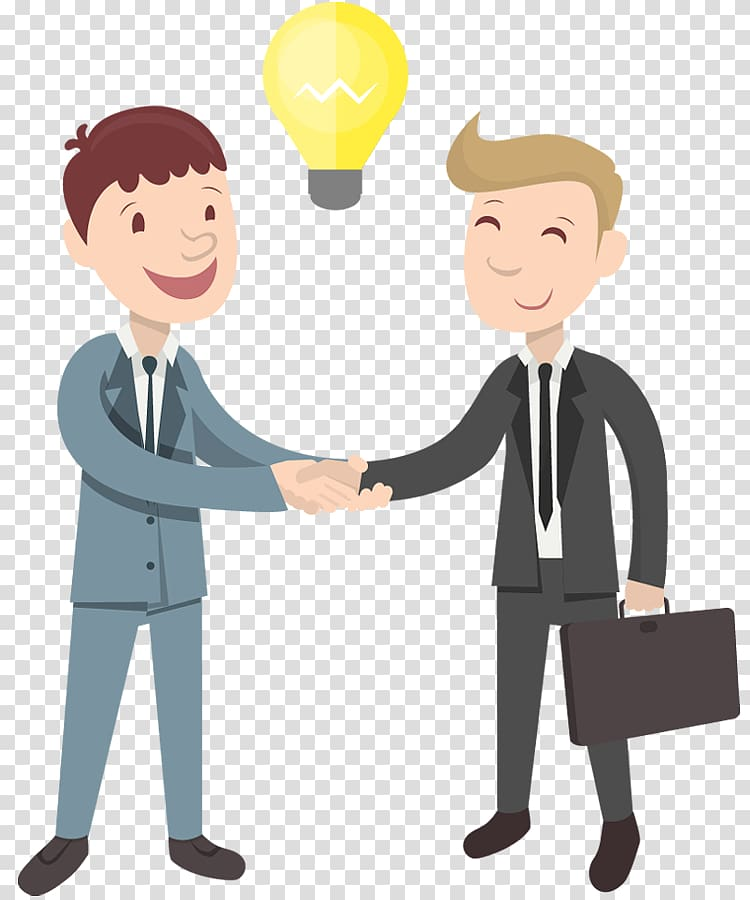 Two men handshaking illustration, Handshake Cartoon.