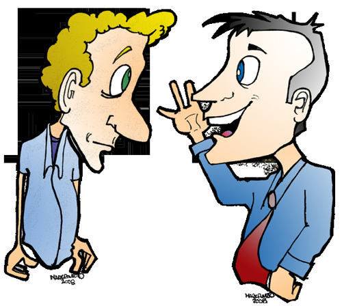 Two guys talking clipart.