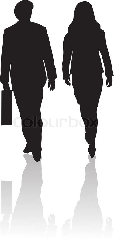 Two People Walking Clipart.