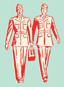 Two Men in the Army Walking Together Clipart Image.