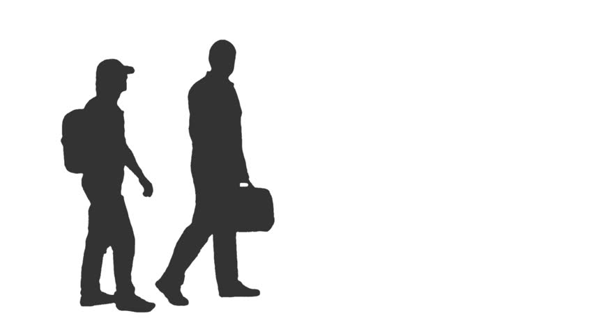 Two People Walking Silhouette.