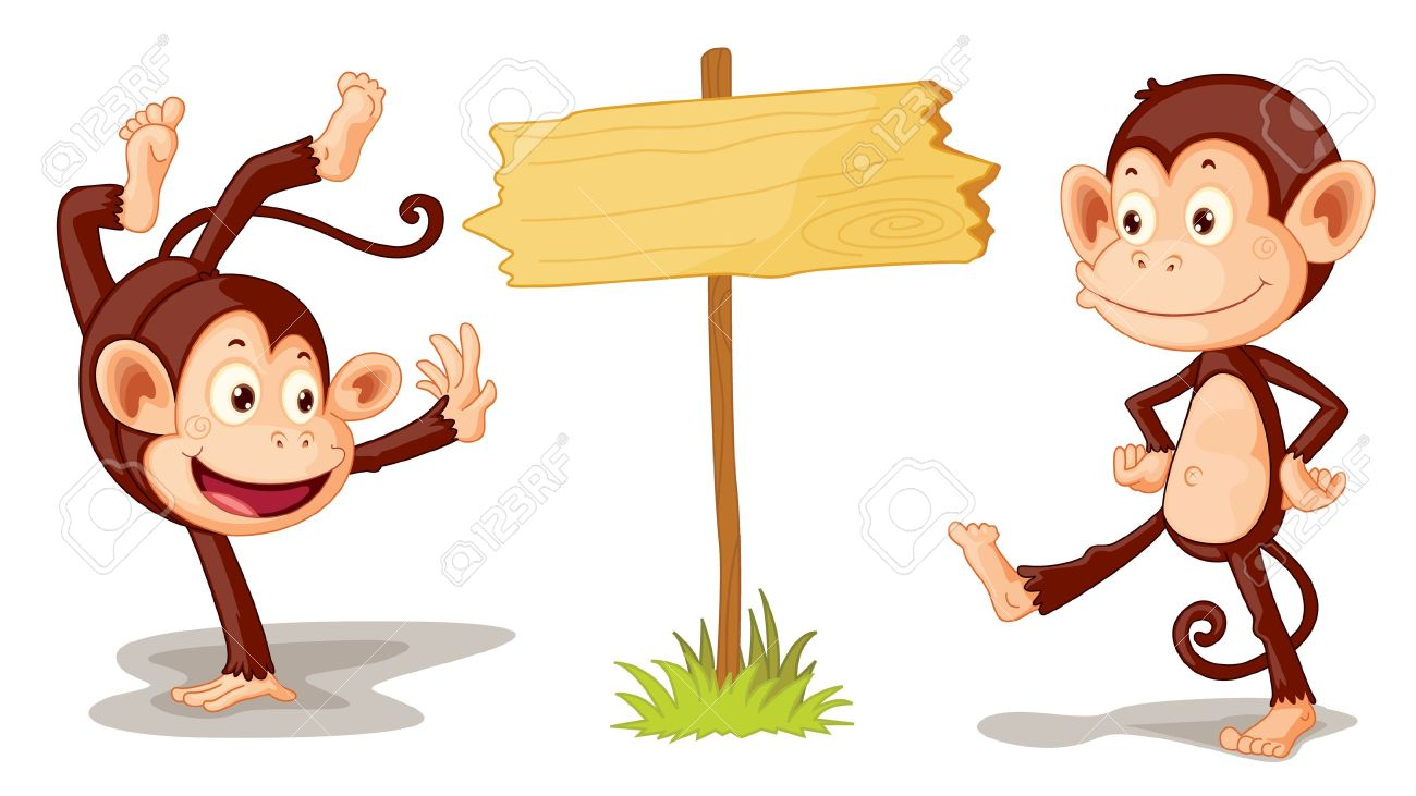 Two Monkeys With Sign Illustration Royalty Free Cliparts, Vectors.