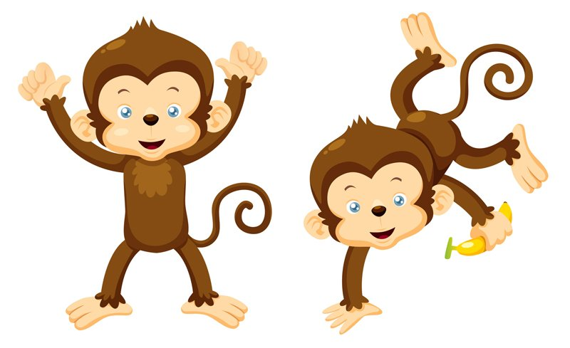 Two monkeys clipart.