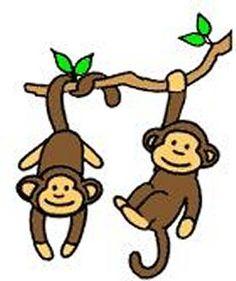 Cute Cartoon Monkeys.
