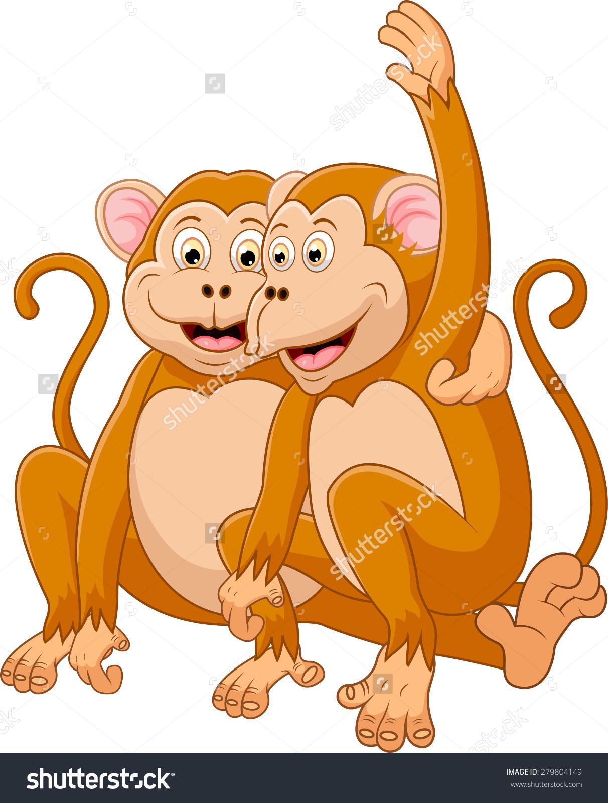 Two Monkeys Cartoon Relaxing Stock Illustration 279804149.