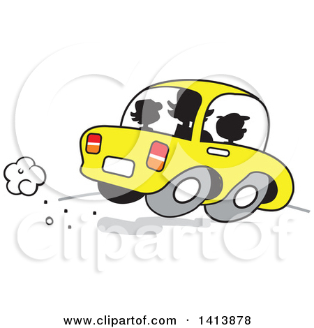 Clipart of a Silhouetted Busy Mom on the Road with Her Two Kids in.