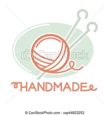 Clipart Vector of Knitting thread ball with two needles inside.