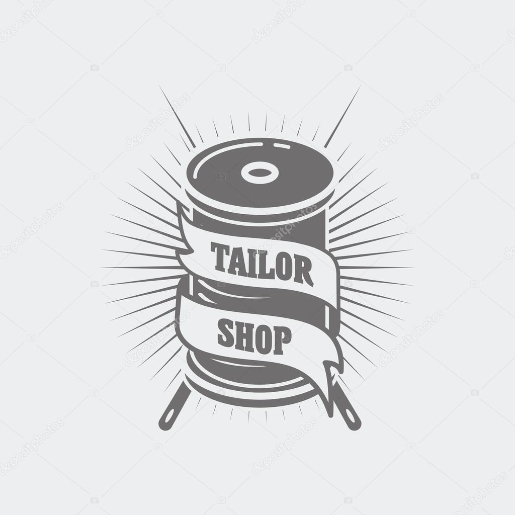 Vector logo or label template for tailor shop and sewing. Two.