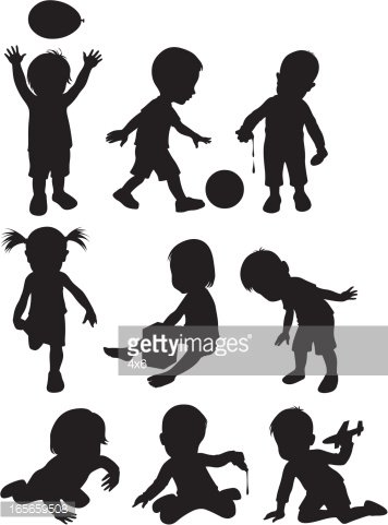 Two year old children ( Cartoon Style ) Clipart Image.