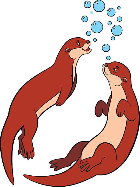 two otters clipart