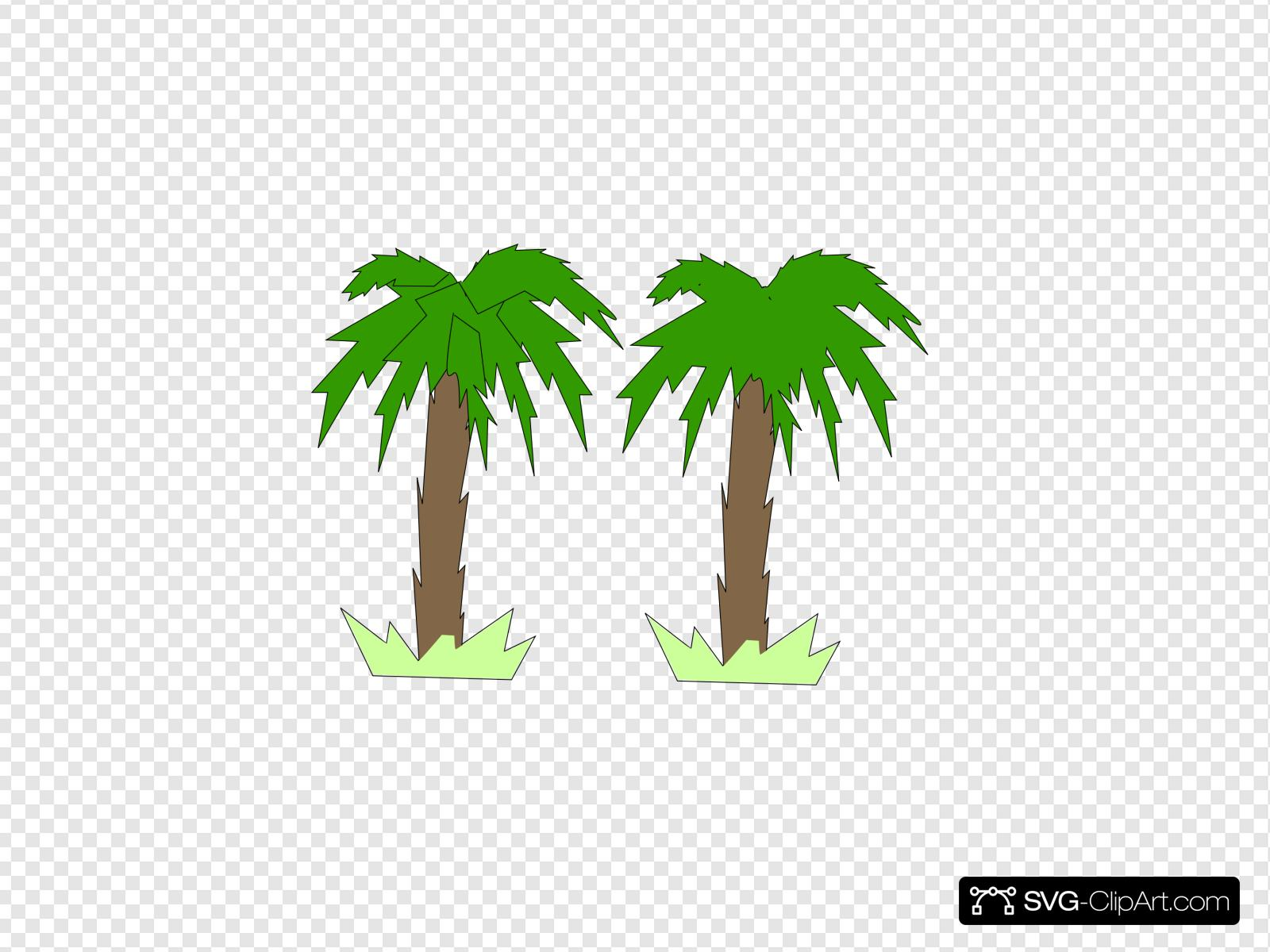 Two Palm Trees Clip art, Icon and SVG.