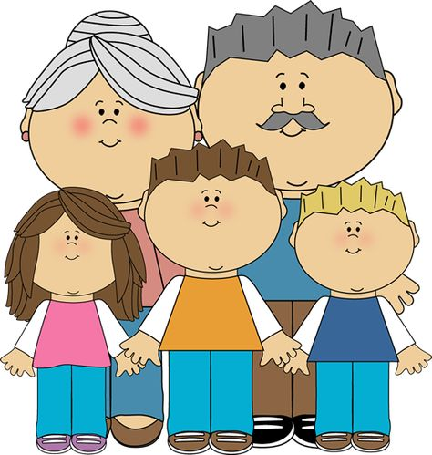 Grandparents and Grandchildren Clip Art Image.