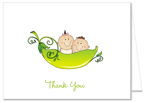 Two Peas in a Pod Baby Shower Thank You Note Cards.