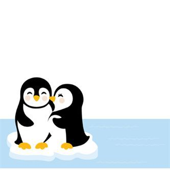 Adorable Penguin Couple Holiday Cards.