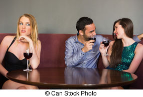 Picture of Blonde woman feeling alone as two people are flirting.