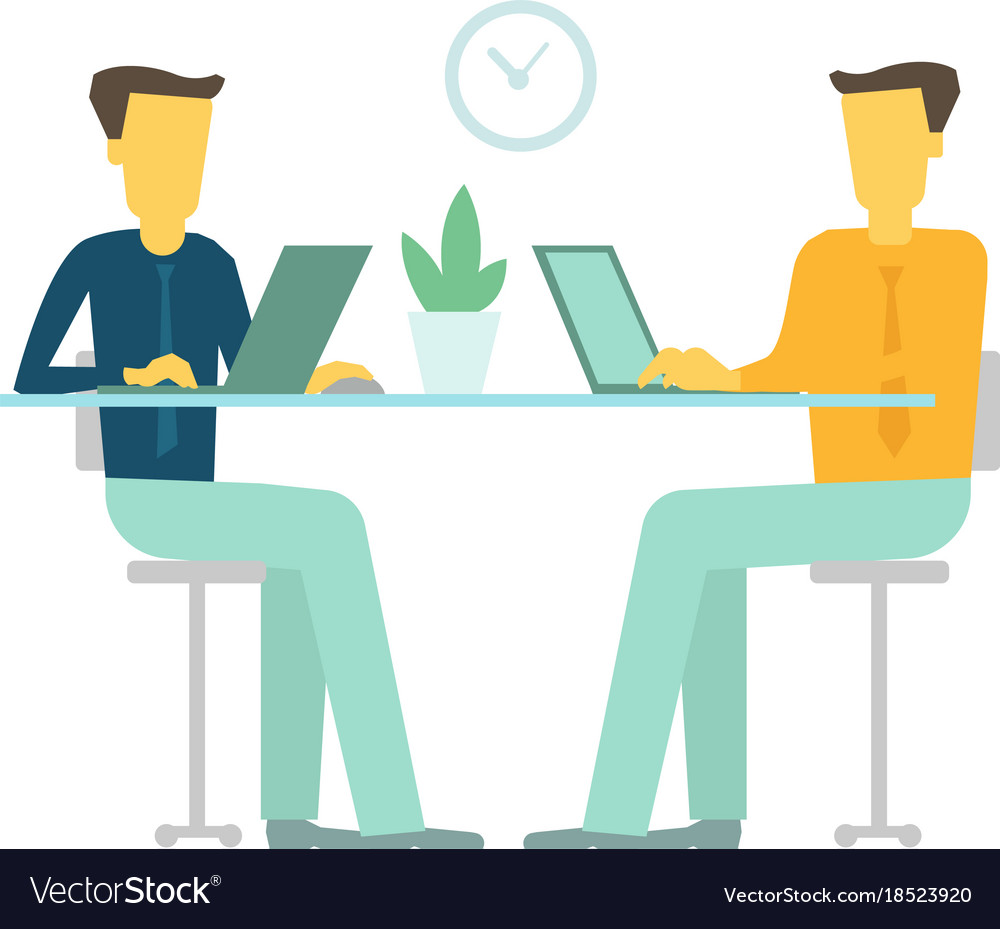Office two people team business people talking sit.