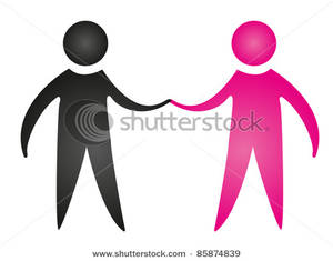 Two People of Different Colors Holding Hands Clipart Image.
