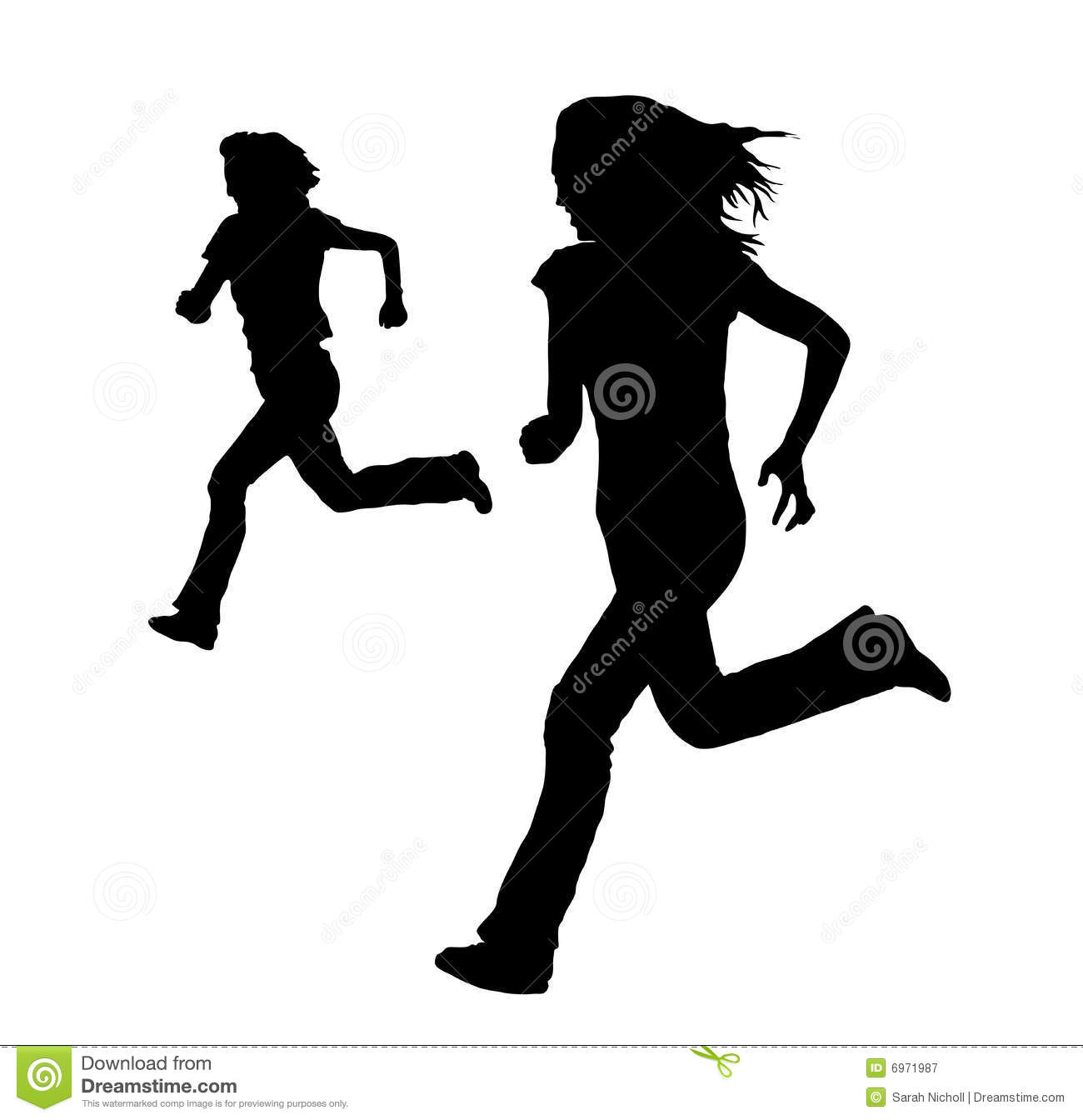 Two Girls Running Stock Illustrations.
