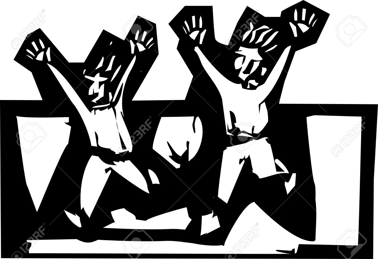 Two People In Expressionistic Woodcut Style Running Scared Royalty.