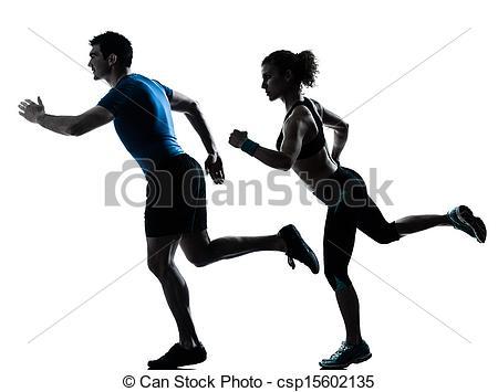 Stock Photos of man woman runner running jogging sprinting.
