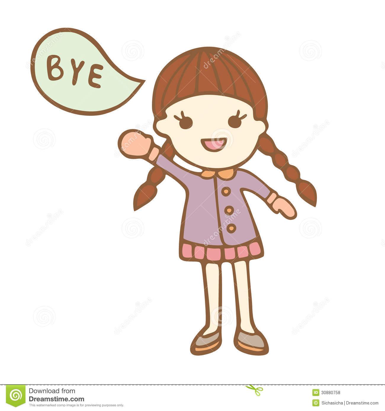 Girl Saying Bye Clipart.