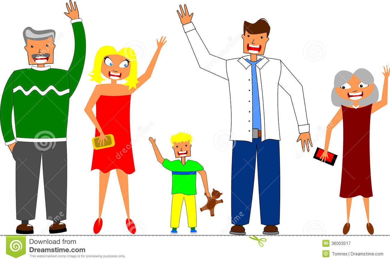 Group Of People Waving Goodbye Clipart.