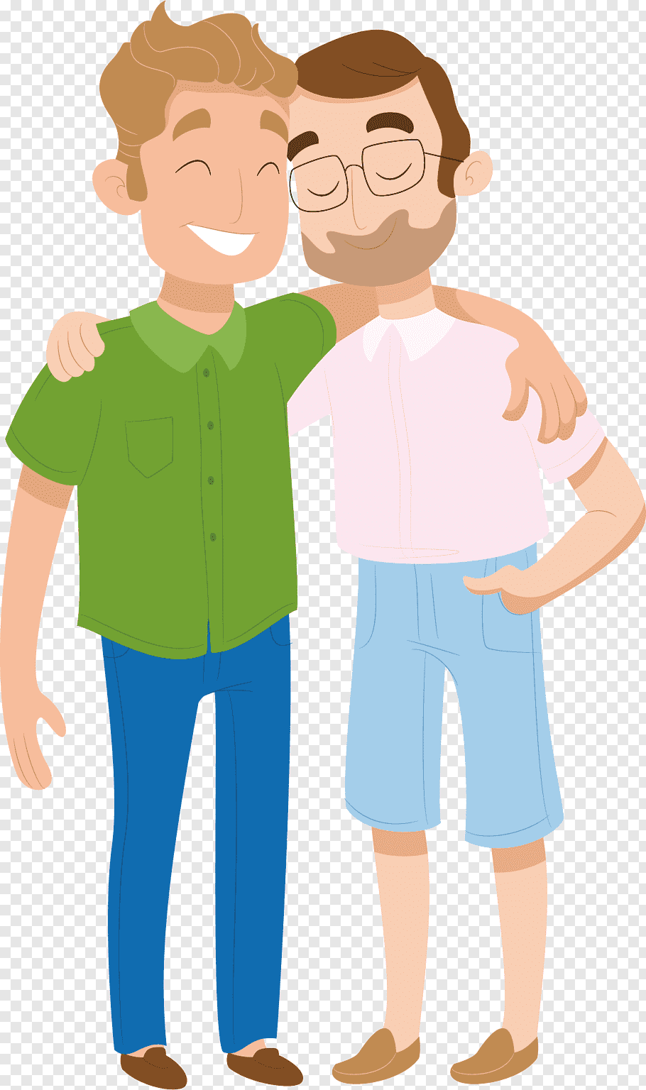 Two man standing illustration, Friendship Intimate.