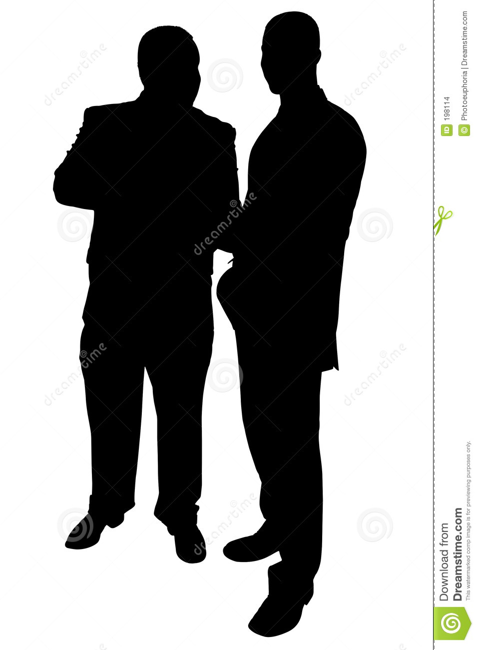 Silhouette With Clipping Path Of Two Businessmen Talking Stock.