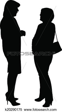 Clipart of two women, talking to each other k20290175.