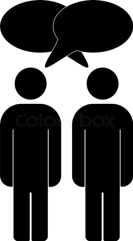 Vector illustration of two people talk face to face, communication.
