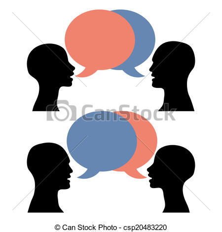 Silhouette Men Women Talking Vector.