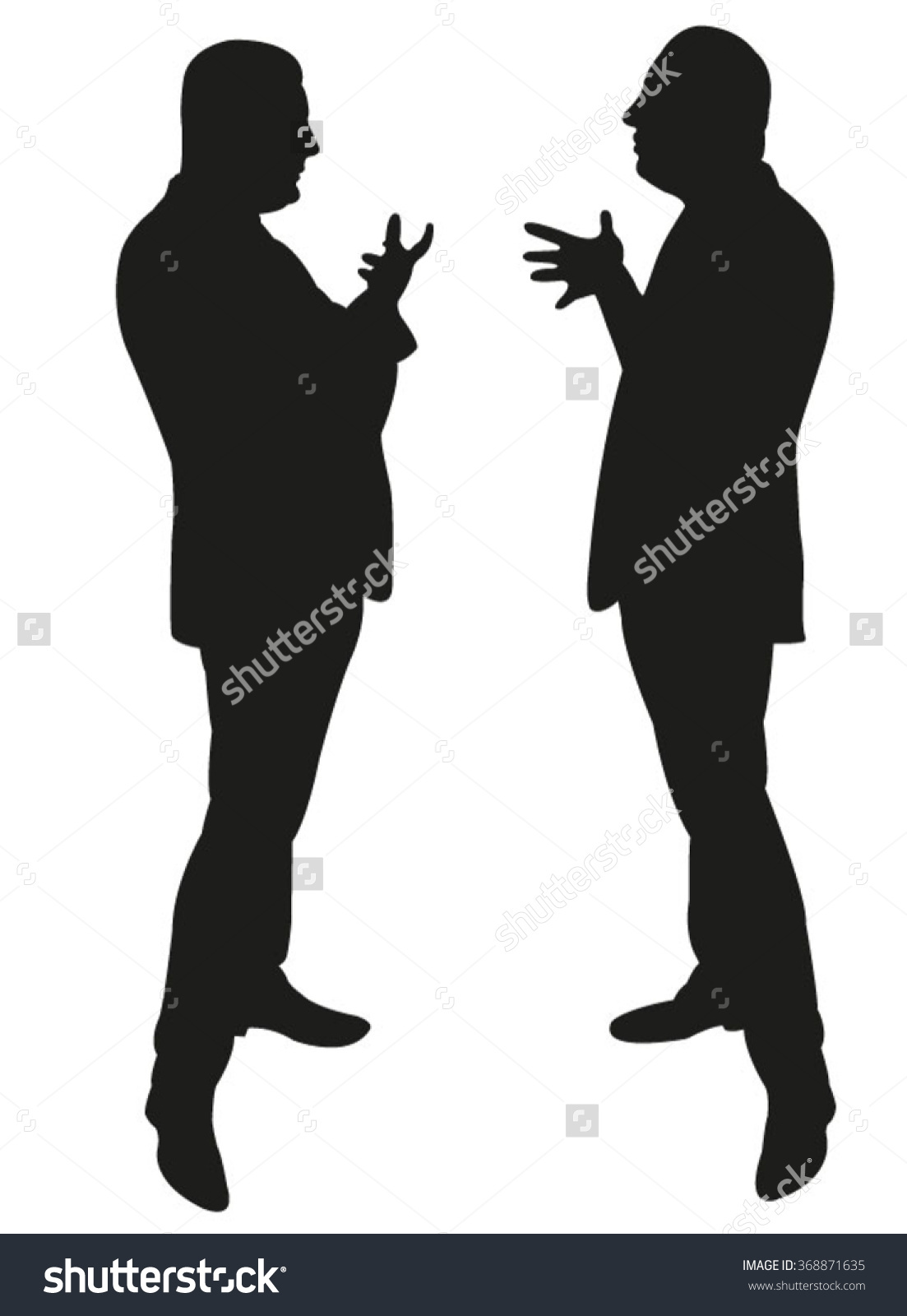 Black Silhouettes Two Men Standing Talking Stock Vector 368871635.
