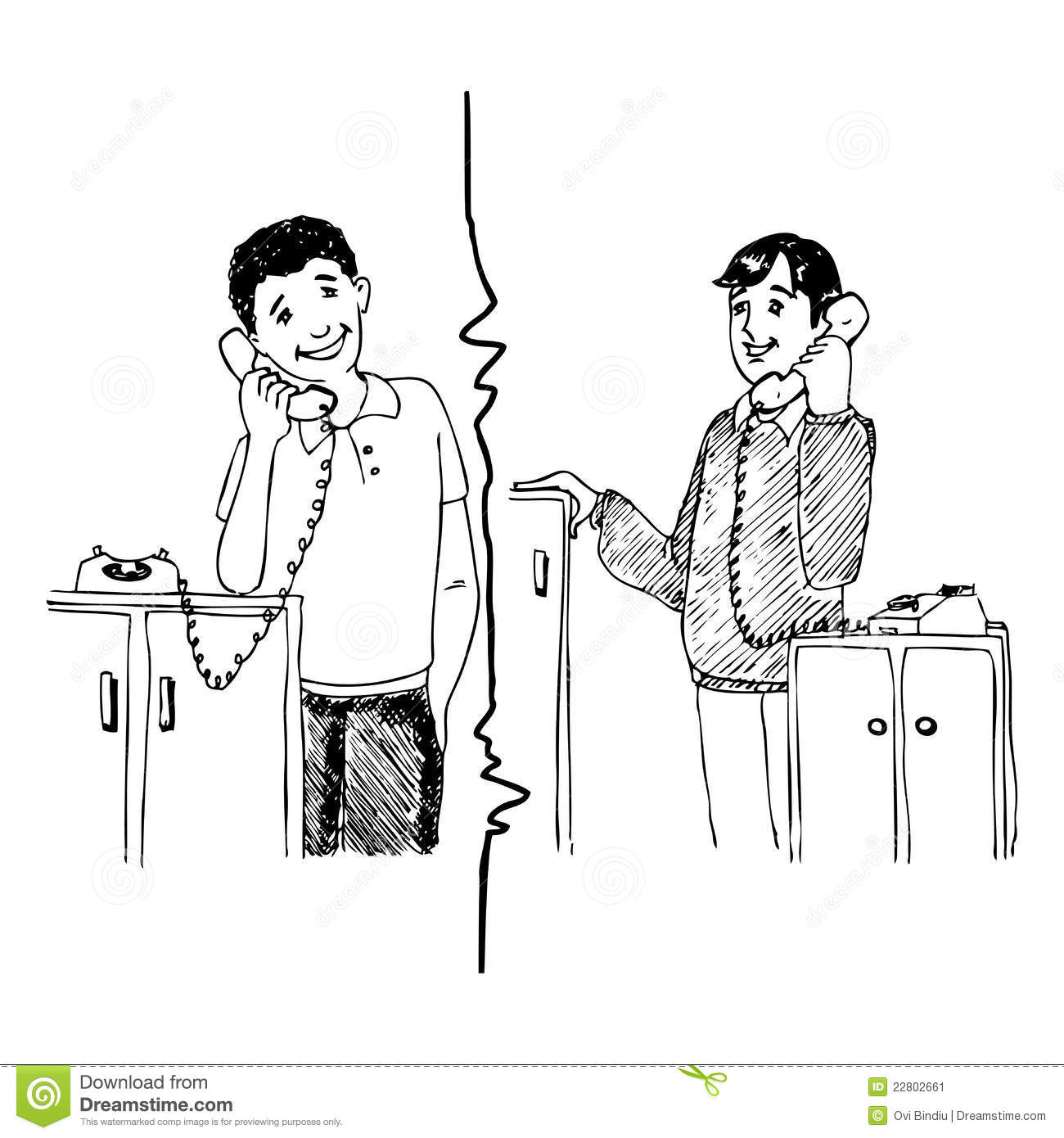 Two Person Phone Call Clipart.