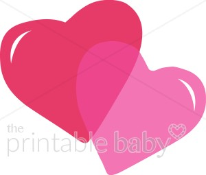 Two Pink Hearts Clipart.
