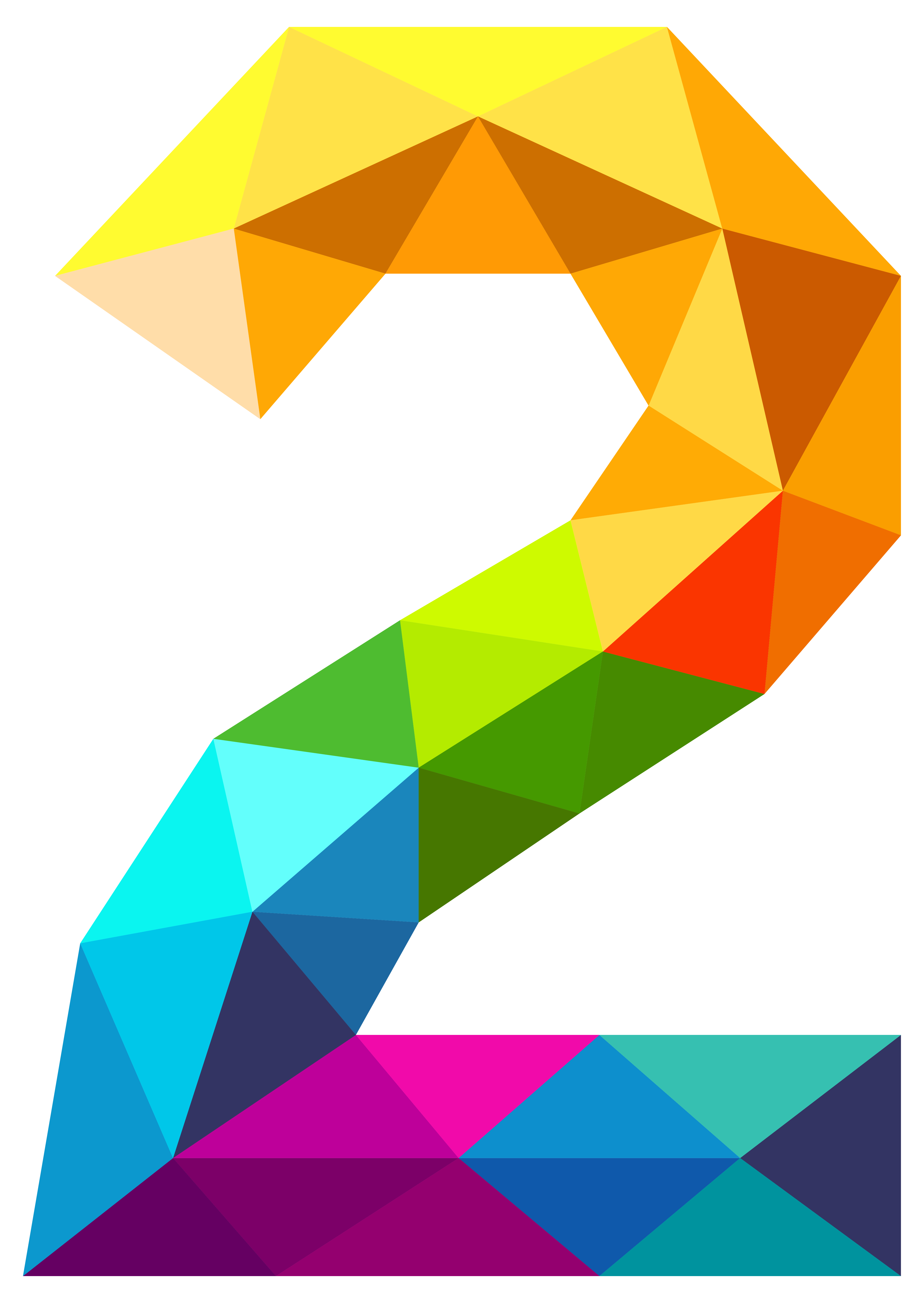 Colourful Triangles Number Two PNG Clipart Image.