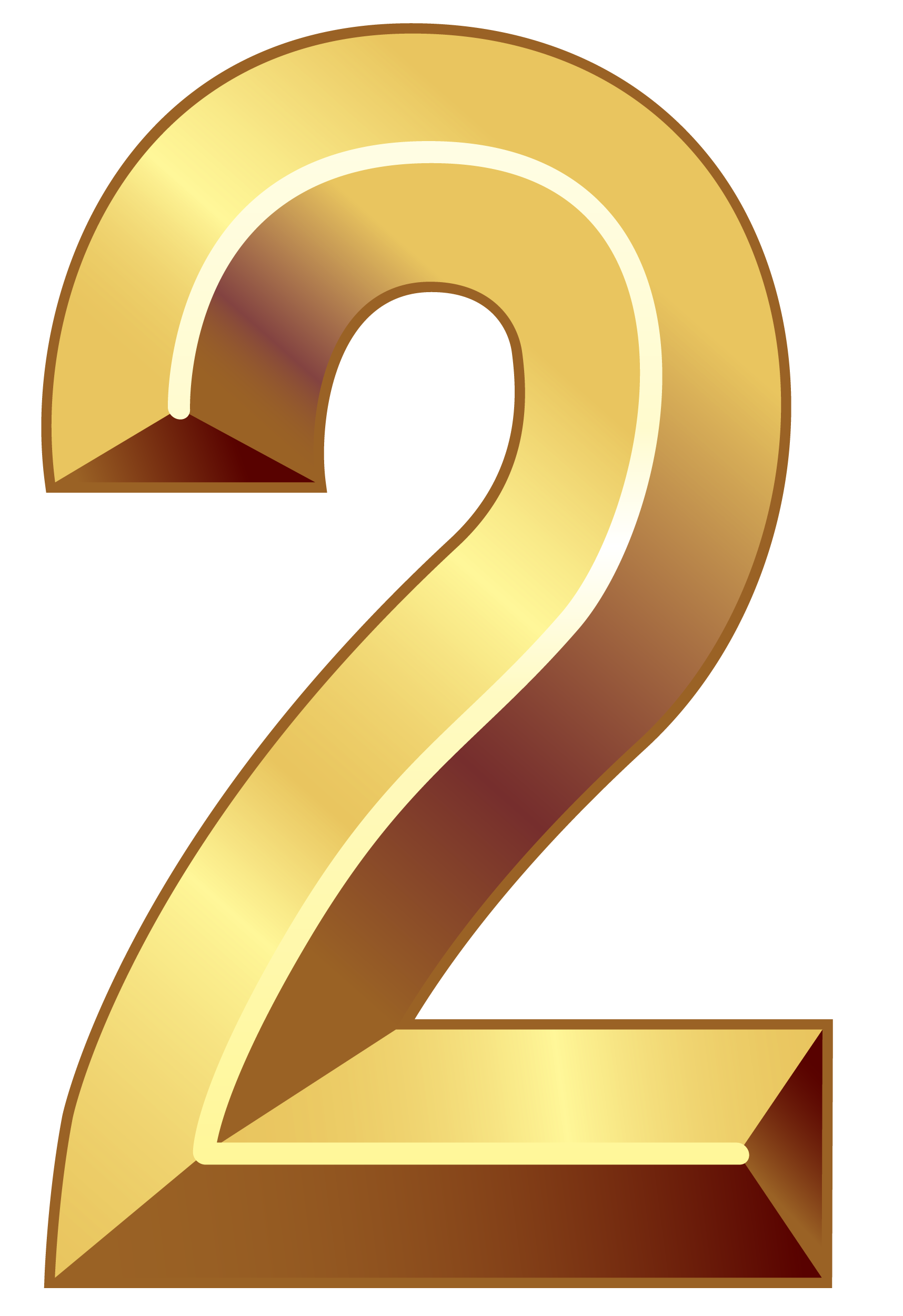 Gold Number Two PNG Clipart Image.