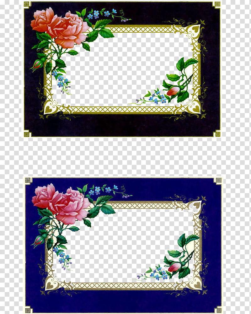 Rose Vintage Frames, two rectangular black and purple.