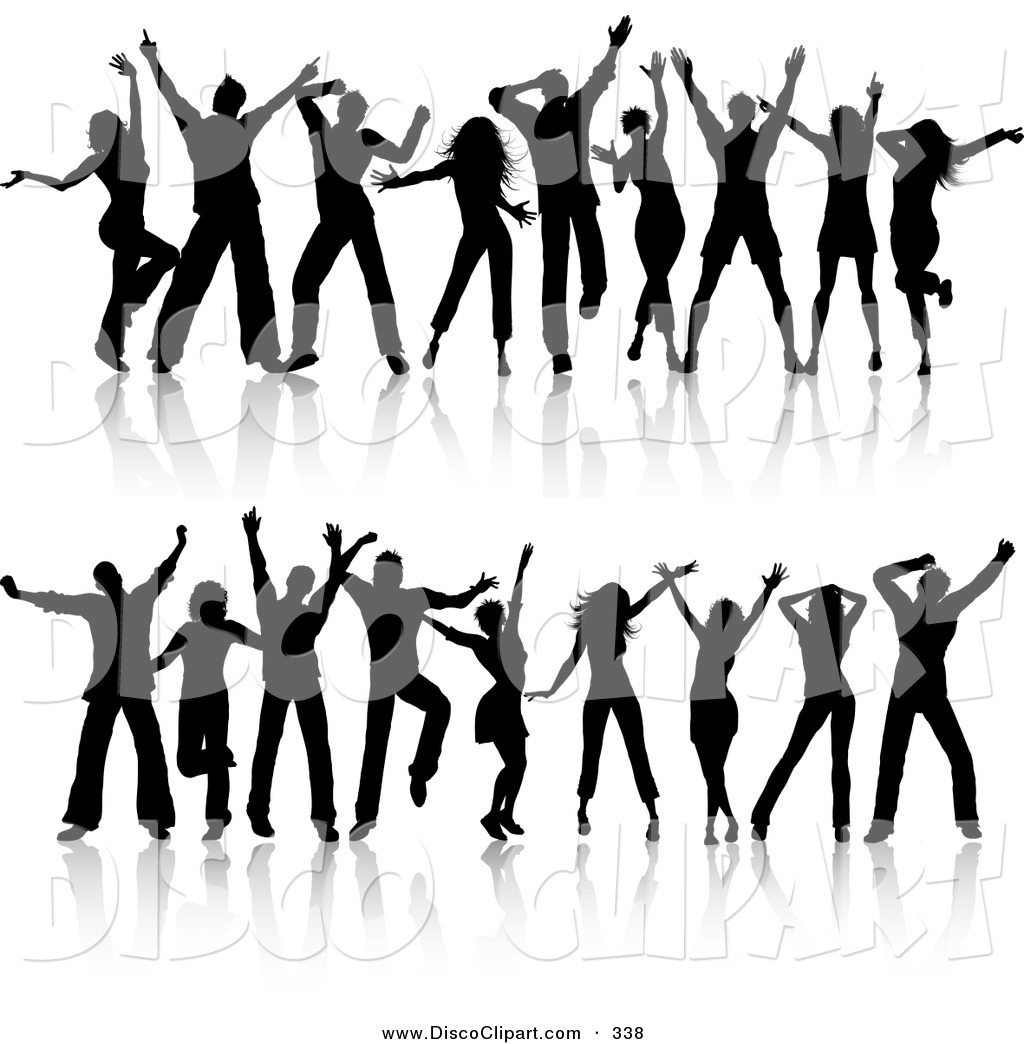 Music Clip Art of a Digital Set of Two Rows of Young Silhouetted.