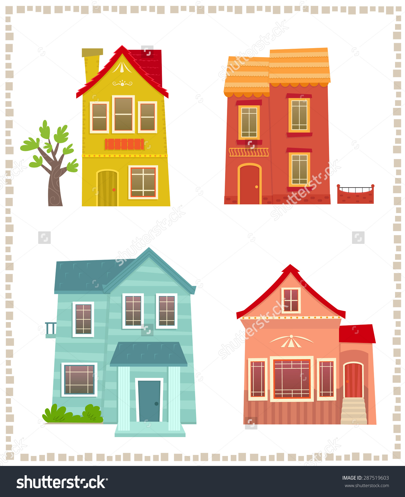 Two Story Houses Cartoon Set Four Stock Vector 287519603.