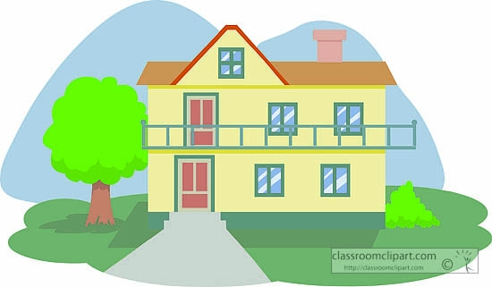 Single Story House Clipart Green.
