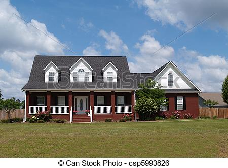 Stock Image of Two Story Brick Residential Home.