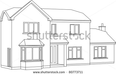 Two Story House Outline Clipart.