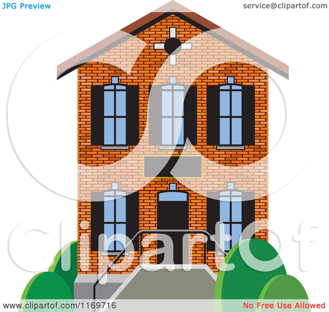 Clipart of a Brick Two Story House or Building.